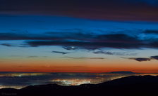 LH7423_Mercury, Venus, and Crescent Moon from Lick Observatory